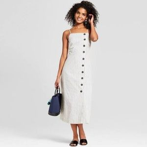 WhoWhatWear striped dress with buttons, in Medium